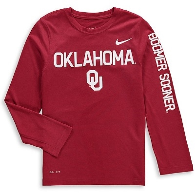 24f563794907 Youth Nike Brand Crimson Oklahoma Sooners Legend Long Sleeve Performance T- Shirt